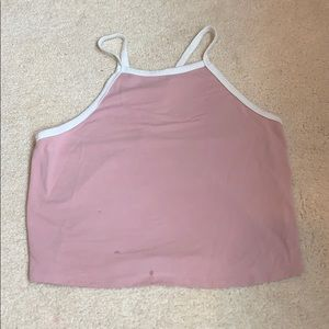 Pink and white halter top
